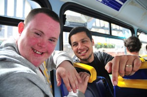 Two men on a bus