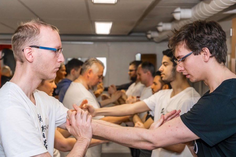Men in kung fu class