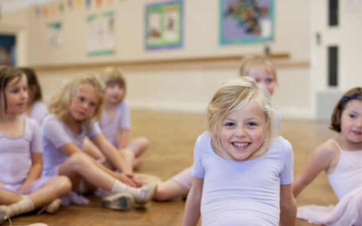 Young girls sitting in ballet class