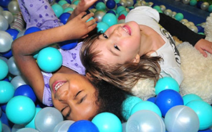 Children playing in ball pit
