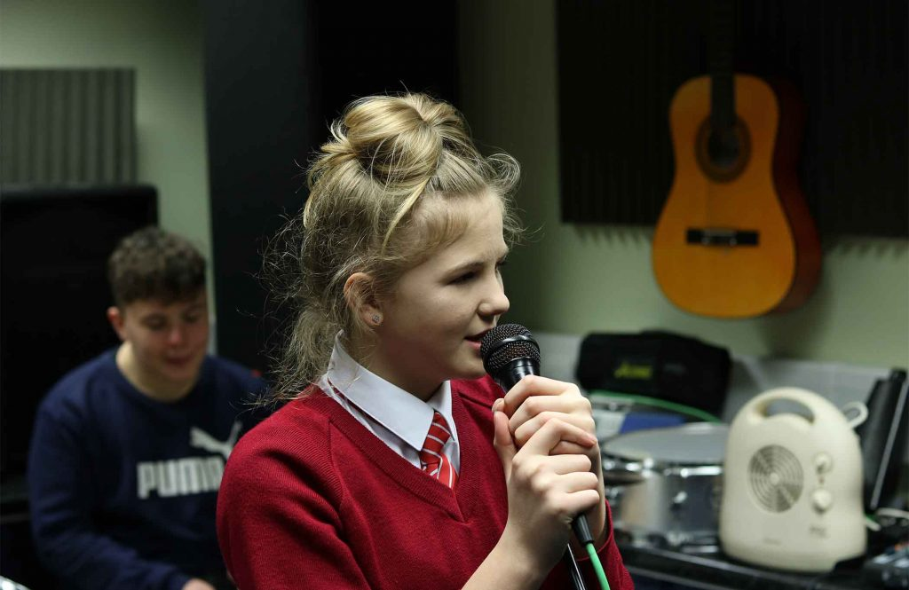 Young people involved in music at Hampton Youth Project