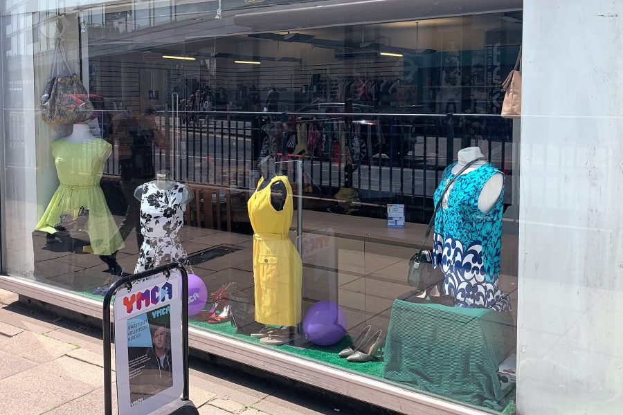 Shop window of YMCA charity shop
