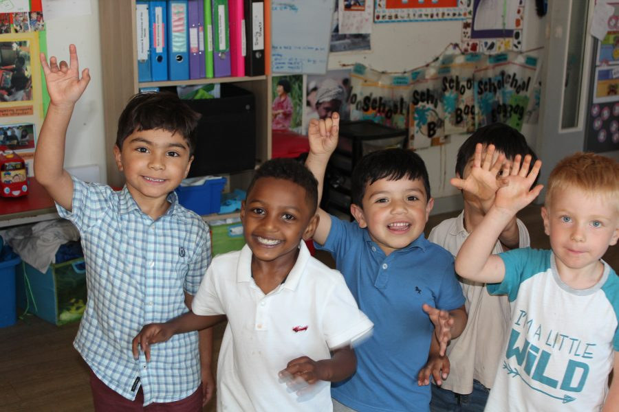Jumpers! Nursery Children waving