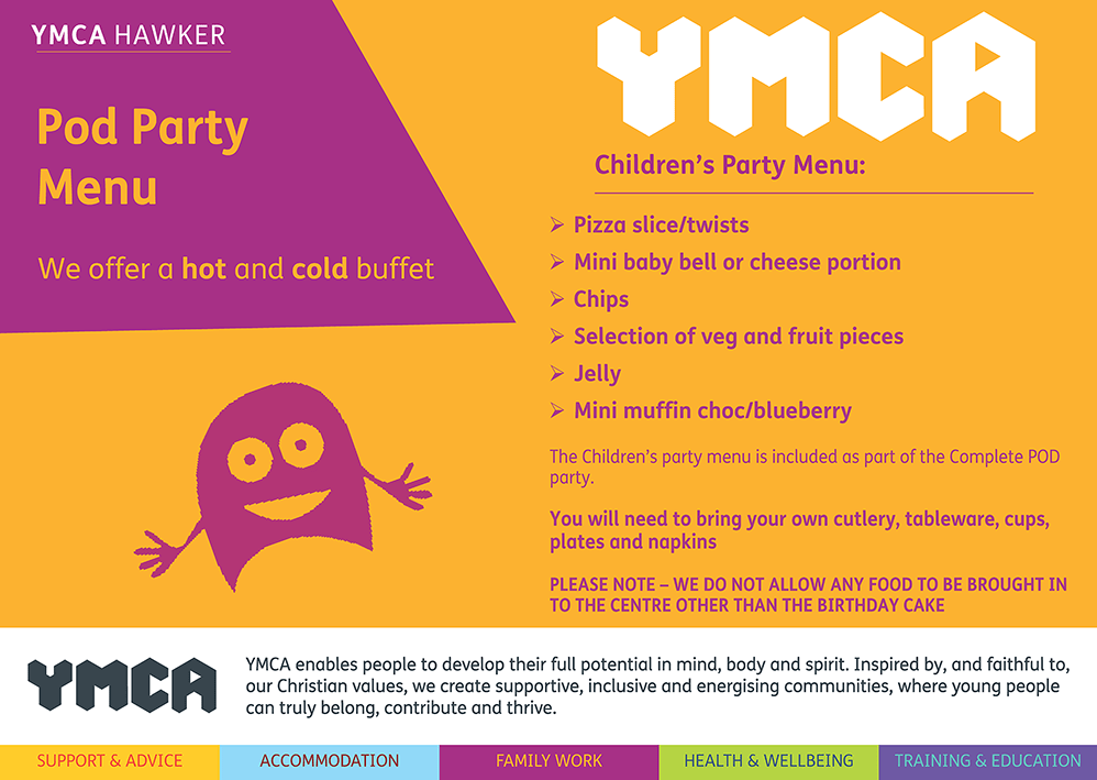 POD party Menu 2021 1 - Children's Parties at YMCA Hawker