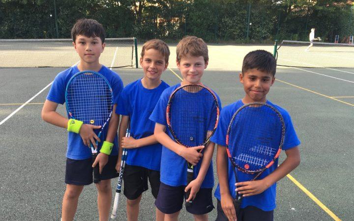 Children standing with tennis rackets on tennis court
