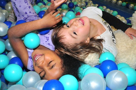 Kids playing in a ball pit