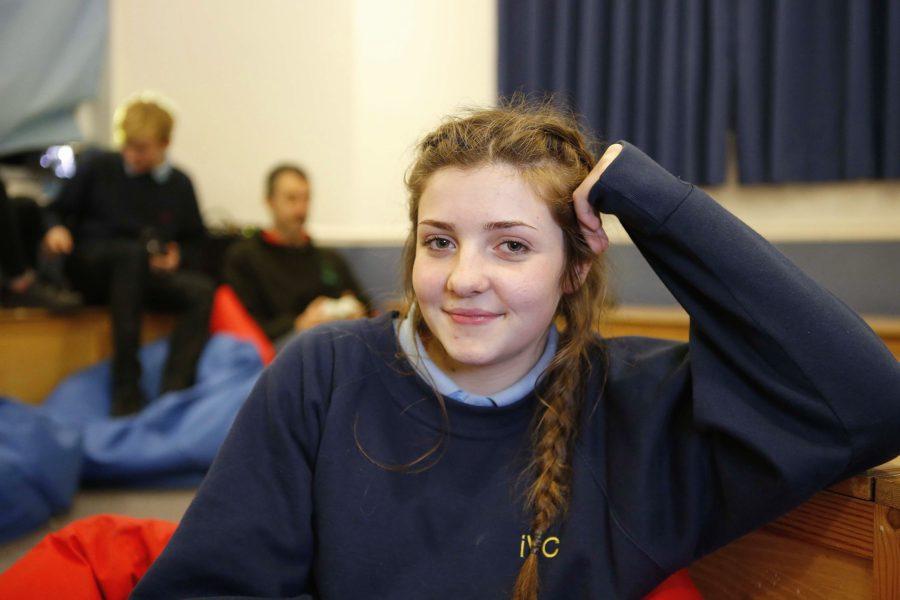Schoolgirl happy in YMCA