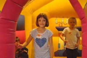 Kids in a bouncy castle